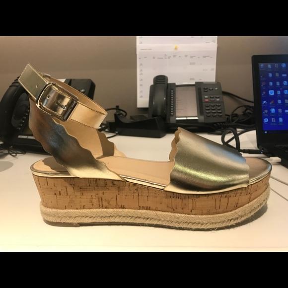b7407841e565 Faitful Gold Espadrille Platform Flat Sandal